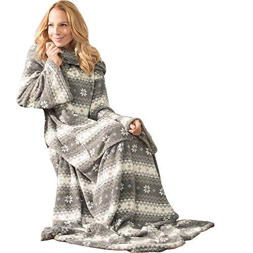 CelinaTex Schneestern Ärmeldecke XL 170 x 200 mit 50 cm Fußtasche grau und Creme weiß Coral Fleece TV-Decke Tagesdecke