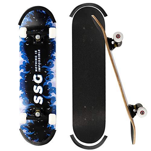 ioutdoor Skateboard Komplettboard 31 x 8 Zoll mit 7-Lagigem Ahornholz und ABEC-7 Kugellager, Belastung 220lbs, für Anfänger Jugendliche Erwachsene, Mit Antikollisionsstreifen (Blau Flamme)