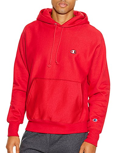 Champion LIFE Men's Reverse Weave Pullover Hoodie, Team Red Scarlet/Left Chest C Logo, Medium