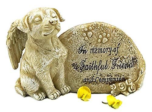 Bellaa 22854 Dog Angel Pet Memorial Grave Marker Tribute Statue Stone Finish