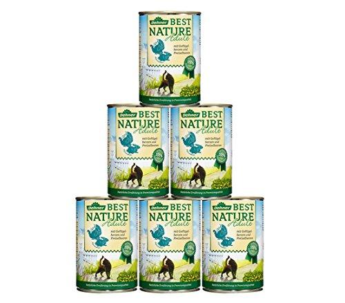 Dehner Best Nature Katzenfutter Adult, Geflügelherzen und Kaninchen, 6 x 400 g (2.4 kg)