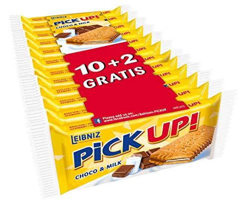 PiCK UP! Choco & Milk - Keksriegel - 10 + 2er Pack - 2 Butterkekse mit knackiger Vollmilchschokolade und Milchcreme (1 x 336 g)