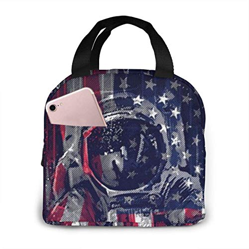 Lawenp Astronaut Lunch Bag for Women Girls Insulated Picnic Pouch Thermal Cooler Tote Bento Meal Prep Cute Bag Leakproof Soft Bags for Lunch Box, Camping, Travel, Fishing