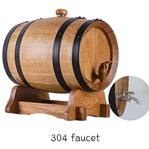 HWhome Hochwertige Dekorative Weinfässer Reine Eichenfässer, Natürliche Eiche Gebraut Weinfass 5L Geeignet zum Brauen Von Wein oder Hochzeitsdekorationen (Color : Barrel+304 Faucet, Size : 5L)
