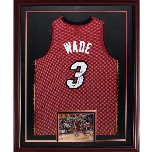 Dwyane Wade Autographed Miami Heat (Red #3) Deluxe Framed Jersey - DWADE Holo