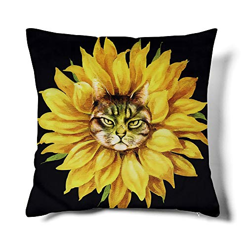 MACOFE Sunflower Fun Cat Throw Pillow Covers Decorative Animal Art Pillowcase Great for Living Room Couch Car Chair 18 x 18 Inch