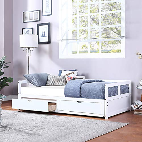 Solid Pine Wood Frames Daybed Sofa Bed with Trundle and 2 Storage Drawers,Twin to King Design,with Slat System,No Box Spring Needed,for Children or Daily Use,U.S.A Local Warehouse,Fast Delivery
