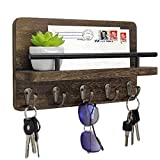 Key Holder and Mail Shelf Wall Mounted, Decorative Wooden Mail Organizer with Shelf, Wood Hanging Mail Sorter with 5 Key Hooks, 100% Solid Wood Letter, Bill and Newspaper Storage Shelf (Brown)