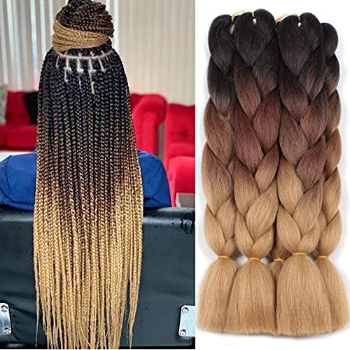 Xtrend 5Pcs 24 Inch Synthetic Ombre Jumbo Braiding Hair Extension 3...