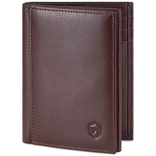 VON HEESEN® Geldbörse Herren mit Münzfach - TÜV geprüfter CRYPTALLOY® RFID-Schutz - Leder Geldbeutel Männer (echtes Nappaleder) Geschenke für Männer - Portemonnaie Brieftasche Wallet (Braun)