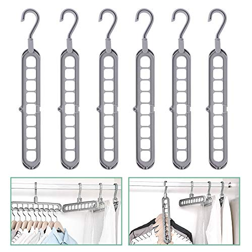 GHJK Gruccia appendiabiti multifunzione, organizer salvaspazio, con nove fori per indumenti pesanti, 6 pezzi (grigio)