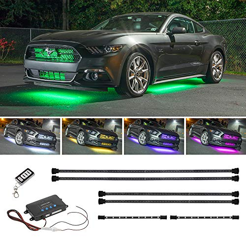 LEDGlow 4pc Million Color Multi-Color LED Underbody Underglow & 2pc Interior Footwell Accent Lighting Kit for Cars - 18 Solid Colors - 12 Unique Patterns - Music Mode - Includes Control Box & Remote