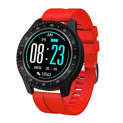 Reloj inteligente, reloj deportivo Ip68, impermeable, de alta definición, podómetro, resistente al agua, apto para correr al aire libre y ciclismo de viaje (color: rojo)