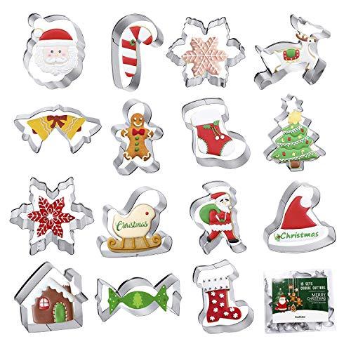 SveBake Ausstechformen Weihnachten Groß Set, Fondant Plätzchen Ausstecher 15 Stück, Keksausstecher aus Edelstahl Metall für Kinder - Weihnachtsbaum, Lebkuchenmann, Krücken, Schneeflocke, Elk