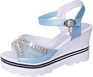 Sandalias Mujer Verano 2020 Cuña Zapatos de Plataforma Cuña Zapatos de Boca de Pescado Playa Fondo Plano Zapatos Bohemias ...