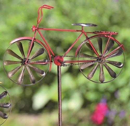 KUHEIGA Gartenstecker Rankstab Fahrrad, rot - Höhe 130cm