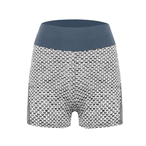 Pantalones Cortos Deportivos de Textura de Panal Mujer Leggins Push Up de Cintura Alta Pantalón de Deporte Elásticos Transpirables Shorts Fitness Mallas de Yoga para Running Training Pilates