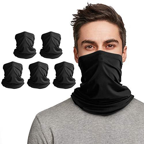 VULKIT 5 Stück Schlauchschal Schwarz, Multifunktionstuch Halstücher für Herren oder Damen, Nahtlose Loop Bandanas für Laufen Wandern Radfahren Motorradfahren