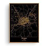 ZWXDMY Leinwand Bild,Aleppo Syrien Schwarz Und Gold