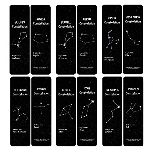 Creanoso Constellations and Their Brightest Stars Bookmarks Cards (60-Pack) - Premium Quality Gift Ideas for Children, Teens, & Adults for All Occasions - Stocking Stuffers Party Favor & Giveaways