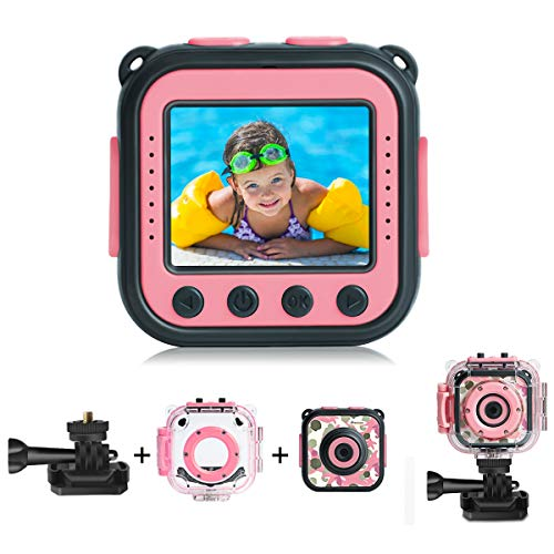[Upgraded] PROGRACE Kids Waterproof Camera Action Video Digital Camera for Kids 1080 HD Children Toddler Camera for Girls Toys Gifts Build-in Game(Pink)