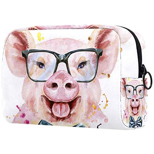 Bolsa de cosméticos para mujer, linda cerdito con pajarita y gafas, bolsas de maquillaje, accesorios organizador de regalos