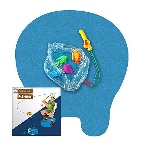 Toiletten Angler Spiel   Gesamtpaket   Toiletten/WC Spiel   Premium Qualität   Fischfang Set   1 Unterlage   1 Angelroute   4 Magnet Fische   1 Mini Aquarium   Von OriginalCup®