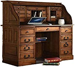 Roll Top Desk Solid Oak Wood - 54 Inch Deluxe Executive Oak Desk Burnished Walnut Stain for Home Office Secretary Organizer Roll Hutch Top Easy Assembly Quality Crafted Construction