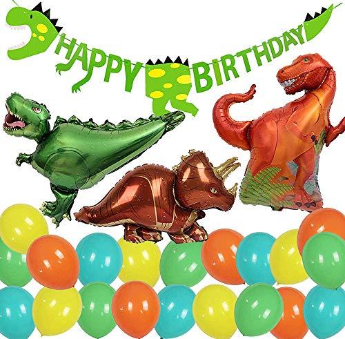 Jimiston Decoración de Fiesta de cumpleaños de Dinosaurio, Pancarta de cumpleaños y Globo de Dinosaurio Grande para Fiesta temática de cumpleaños