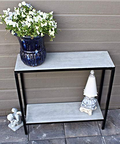 Pebble Lane Living 2 Tier Concrete Outdoor Patio Console Buffet Table with Lower Shelf