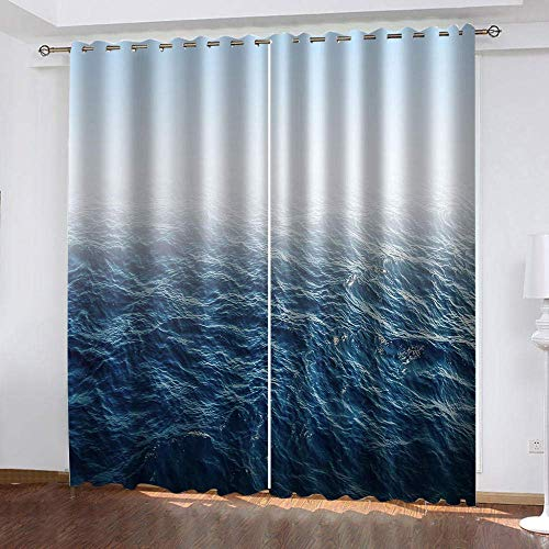 meilishop Polyester Window Curtains Clear Blue Water Mildew Resistant Fabric Curtains Colorful Window Curtains For Living Room Office Bedroom 265(H) x200(W) Cmx2 Panels/set