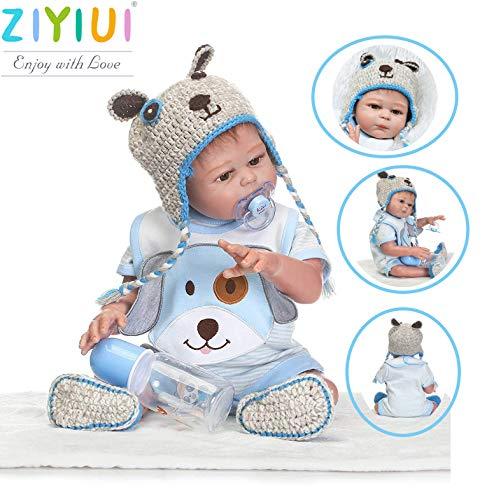 ZIYIUI poupée 20 Pouces 50 cm réaliste Reborn garçon poupée Complet du Corps Yeux de Silicone Ouverts Vrais à la Recherche de Nouveau-nés poupées Tout-Petit Jouet pour l'âge 3+