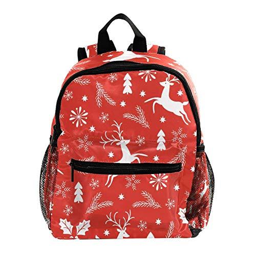 Mini Mochila Escolar Árbol de Navidad de Copo de Nieve de Alce Blanco Mochilas para niñas Mochilas para niños Mochilas para jardín de Infantes Mochilas pequeñas para niños de 3 a 8 años 25.4x10x30 CM