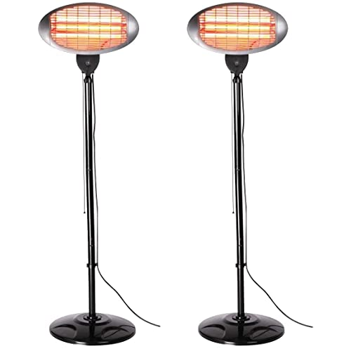 ASAB 2KW Electric Patio Garden Heater Free Standing Outdoor Infrared Quartz Halogen Heat Lamps Adjustable Height With Tall Base Stand