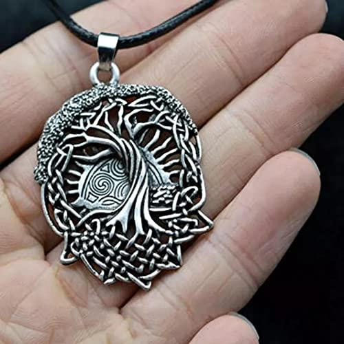 Chenfeng Halskettenanhänger Vintage Ton Amulett Baum des Lebens Runen Halskette Leder Seil Kette Halskette Schmuck Freundschaftskette EIN Geburtstagsgeschenk für ihn (sie)