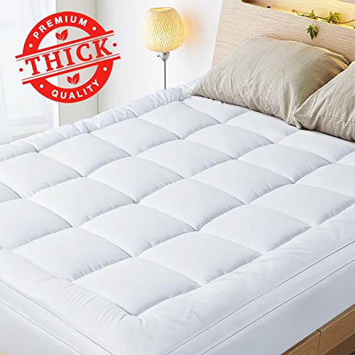 HOMKUU Mattress Topper Plush Snow Down Alternative Filling Bed Topper Extra Thick Mattress Pad Soft Breathable Hypoallergenic Pillow Top  Queen Size