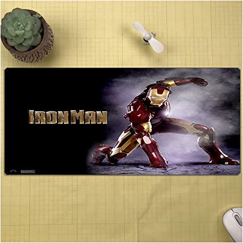 CSQHCZS-SBD Marvel Avengers Iron Man Uitgebreide muispad, antislip blokkering spel Anime toetsenbord bureauonderlegger, antislip rubberen basis ++++
