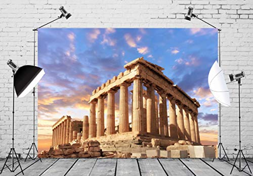BELECO 7x5ft Ancient Greek Photography Backdrop Parthenon Temple in Acropolis in Athens Greece Backdrops for Mythology Party Supplies Party Decorations Greece Photo Background Props