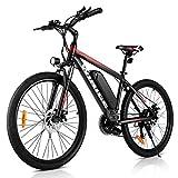 VIVI Bicicleta eléctrica de montaña 26/27.5 Pulgadas, Motor de 350 W, 36 V, 10.4 Ah, batería extraíble, Bicicleta eléctrica para Adultos. (Rojo 26)