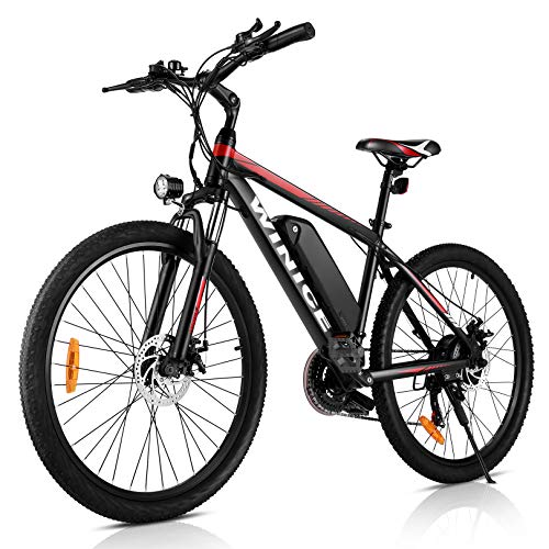 VIVI 26 pollici Mountain Bike elettrica da 26 pollici, 250W motore 36V 10.4AH rimovibile batteria batteria elettrica per adulti (Rosso)