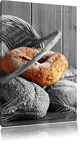 Pixxprint frisch gebackene Brötchen in Korb ALS Leinwandbild/Größe: 120x80 cm/Wandbild/Kunstdruck/fertig bespannt