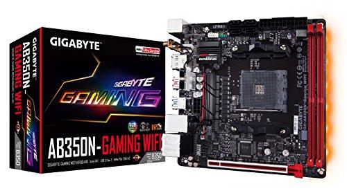 Gigabyte GA-AB350N-GAMING WiFi Gigabyte AMD AB350N-GAMING Wi-Fi B350 Chipsatz, DDR4 GB LAN Mini ITX Motherboard, schwarz.