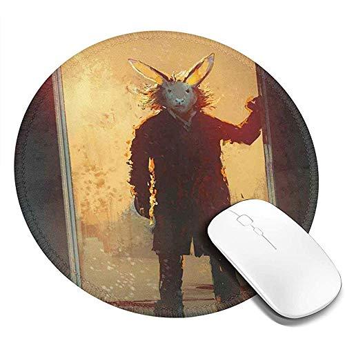 Mausepad Runde Mausunterlage,Beängstigende Person Mit Kaninchenmaske An Der Tür Acrylfarben-Druck Der Alten Leute 20Cm Wasserdichtes Mousepad,Rutschfestes Mousemat