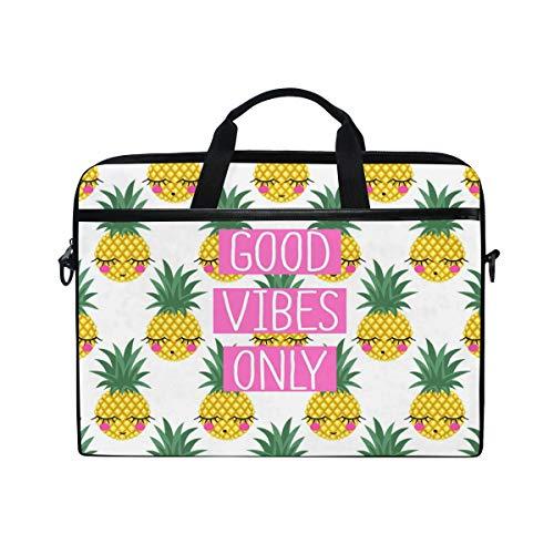 HAIIO Laptop Bag Case Cute Tropical Pineapple Fruit Emoticon Computer Protector Bag 14-14.5 inch Travel Briefcase with Shoulder Strap for Women Men Girl Boys