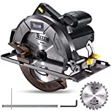 "Professional Circular Saw TECCPO 10Amp Lightweight 7-1/4"" 5800 RPM Saw with Scale Ruler, 24T Circular Saw Blade, No Laser Guide, Max Cutting Depth 2-7/16"" (90°), 1-13/16"" (0°-45°) - TACS22P"