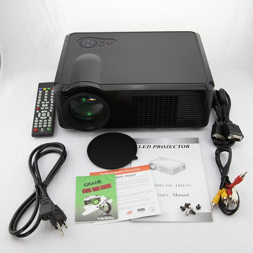 : HD 1080P LED Projector SUPPORTS HDMI, USB, DTV, COMPONENT black