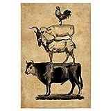 artboxONE Poster 45x30 cm Tiere Nutztiere - Schwein, Kuh,