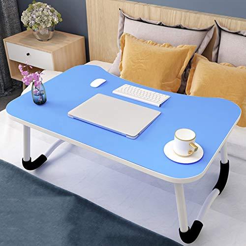 Table Pliante Lit créatif lit d'ordinateur Portable Pliable Table paresseuse étudiant dortoir étude Bureau dortoir (Color : Blue)