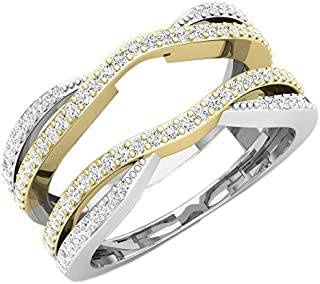 (10) - 0.50 Carat (ctw) 10K White & Yellow Gold Two Tone Round Diamond Ladies Wedding Chevron Ring 1/2 CT