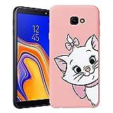 ZhuoFan Funda Samsung Galaxy J4 Plus, Cárcasa Silicona Rosa con Dibujos Diseño Suave Gel TPU Antigolpes de Protector Piel Case Cover Bumper Fundas para Movil Samsung Galaxy J4Plus, Gato 01